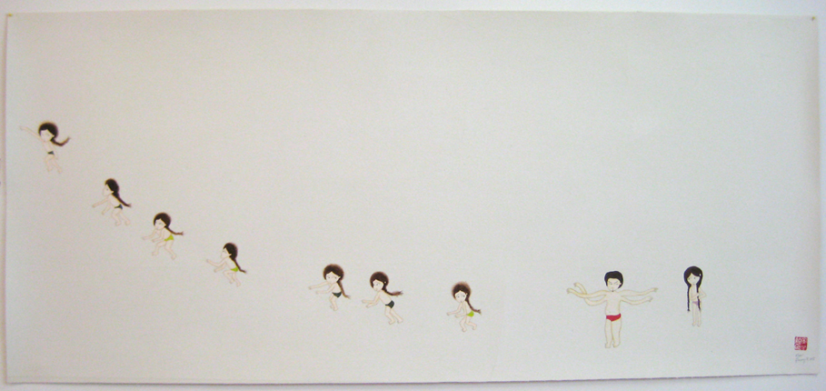 Girls Run Away, 2008 Gouache, graphite,  watercolor on rice paper  on canvas 23 3/8 x 52 1/4 in 59.4 x 132.7 cm