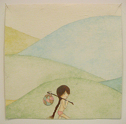 Wandering, 2008 Gouache, watercolor, pencil on rice paper on canvas 10 x 10 in 25.4 x 25.4 cm